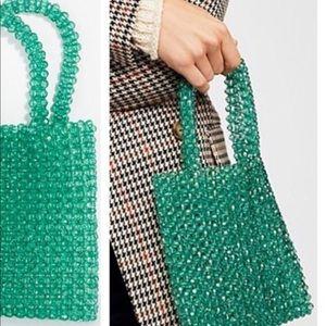 Free People mini beaded tote bag green